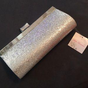 Sparkly silver clutch